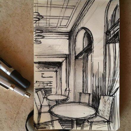 Skizze Café Balzer Bergamo